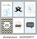 set of vector cards for baby... | Shutterstock .eps vector #1029530977