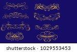 set of decorative florish gold...   Shutterstock .eps vector #1029553453