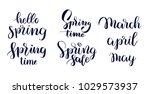 hello spring set hand drawn... | Shutterstock .eps vector #1029573937