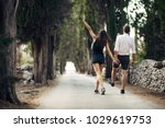 couple having a walk in nature... | Shutterstock . vector #1029619753