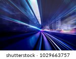 in front of moving train on... | Shutterstock . vector #1029663757
