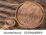organic flax seeds in the bowl  ... | Shutterstock . vector #1029668893