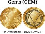 set of physical golden coin... | Shutterstock .eps vector #1029669427