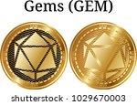 set of physical golden coin... | Shutterstock .eps vector #1029670003