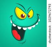 angry cartoon monster face.... | Shutterstock .eps vector #1029672793