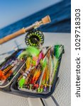 saltwater fly fishing flies and ... | Shutterstock . vector #1029718303