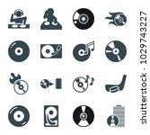 disc icons. set of 16 editable... | Shutterstock .eps vector #1029743227