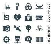 technology icons. set of 16... | Shutterstock .eps vector #1029744103