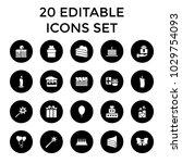birthday icons. set of 20... | Shutterstock .eps vector #1029754093