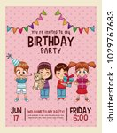 happy birthday invitation pink... | Shutterstock .eps vector #1029767683