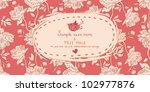 Invitation vintage card with peony flowers on red background - stock vector