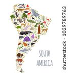 south america flora and fauna... | Shutterstock .eps vector #1029789763