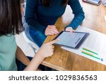 female students reading and... | Shutterstock . vector #1029836563