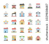 buildings flat vector icons... | Shutterstock .eps vector #1029838687