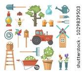 spring gardening vector flat...   Shutterstock .eps vector #1029839503
