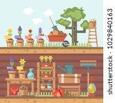 spring gardening vector flat... | Shutterstock .eps vector #1029840163