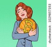 pop art young business woman... | Shutterstock .eps vector #1029857353