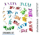 festive colorful ribbons on... | Shutterstock . vector #1029872737