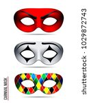 set of carnival mask ... | Shutterstock . vector #1029872743