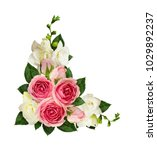 Pink Roses And Freesia Flowers...