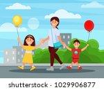young mother walking in park... | Shutterstock .eps vector #1029906877