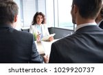 job interview with the employer ... | Shutterstock . vector #1029920737