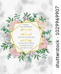 floral wedding invitation with... | Shutterstock .eps vector #1029969907