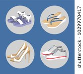 shoe collection  summer mode ... | Shutterstock .eps vector #1029970417
