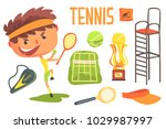 boy tennis player kids future... | Shutterstock .eps vector #1029987997