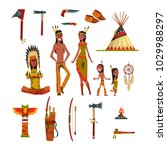 native american indians and... | Shutterstock .eps vector #1029988297