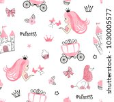 seamless princess pattern with...   Shutterstock .eps vector #1030005577