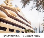 """Small photo of BARCELONA, SPAIN-FEBRUARY 16, 2018: Greatest personal yacht in the world """"Dilbar"""" owned by Russian businessman Alisher Usmanov in the port of Barcelona, Spain."""