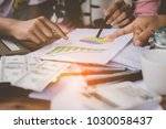 people working together with... | Shutterstock . vector #1030058437