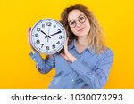 woman in shirt with clocks | Shutterstock . vector #1030073293