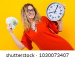 woman in dress with clocks and... | Shutterstock . vector #1030073407