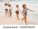 four best friends enjoying a... | Shutterstock . vector #1030078633