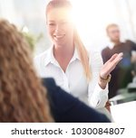 employees discussing ideas... | Shutterstock . vector #1030084807