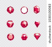set of vector glossy red ruby... | Shutterstock .eps vector #1030100083