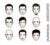 set of men faces  human heads.... | Shutterstock .eps vector #1030102933