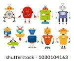 set of cute vintage cartoon... | Shutterstock . vector #1030104163