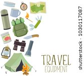 set of travel equipment.... | Shutterstock .eps vector #1030117087