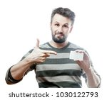 handsome man in gray striped...   Shutterstock . vector #1030122793