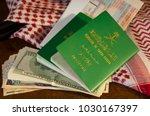 saudi passport  ticket and... | Shutterstock . vector #1030167397