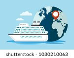 white cruise ship with globe.... | Shutterstock .eps vector #1030210063