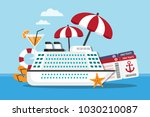 white cruise ship on the sea... | Shutterstock .eps vector #1030210087