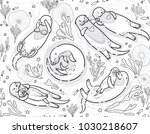 contour seamless pattern with... | Shutterstock .eps vector #1030218607