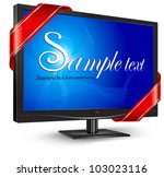 Plasma, lcd tv with red ribbon and text on blue screen, vector illustration - stock vector