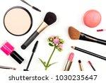 a closeup of makeup brushes ... | Shutterstock . vector #1030235647