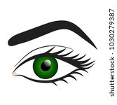 woman green eye hand draw stock ... | Shutterstock .eps vector #1030279387