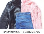 faux leather biker jacket ... | Shutterstock . vector #1030292707